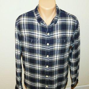 True Grit | Blue Plaid Flannel Button Down Shirt